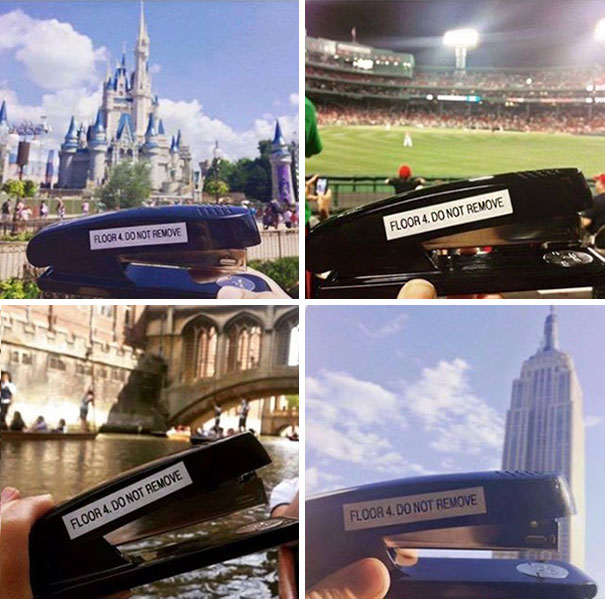 Some Company Employees Took A Stapler From The Inventory To A World Tour