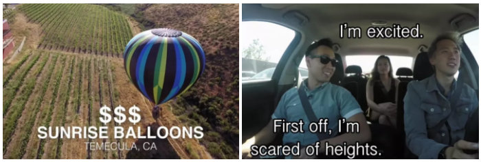 The final and most expensive date was $1,160. But it was definitely worth it because they would be in a hot air balloon looking over Temecula valley.
