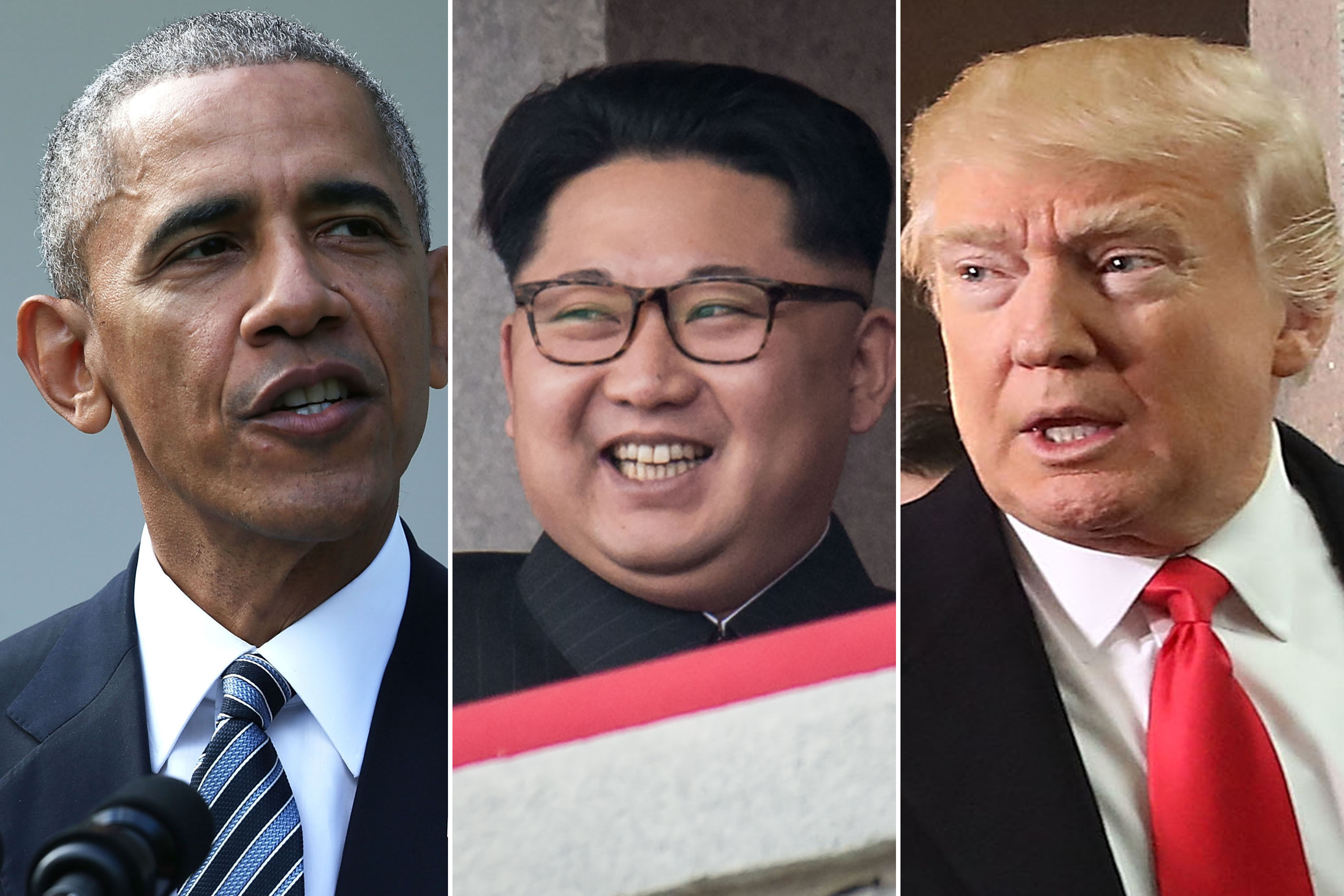 Barack Obama, Kim Jong-Un and Donald Trump