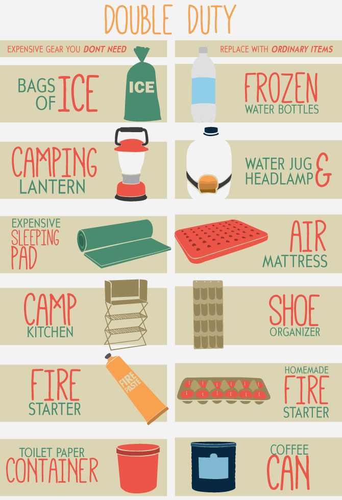 24. Instead of buying expensive camping equipment, find everyday things that can serve ~dual purposes~.