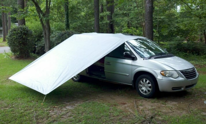 7. Secure a tarp with bungee cords for a