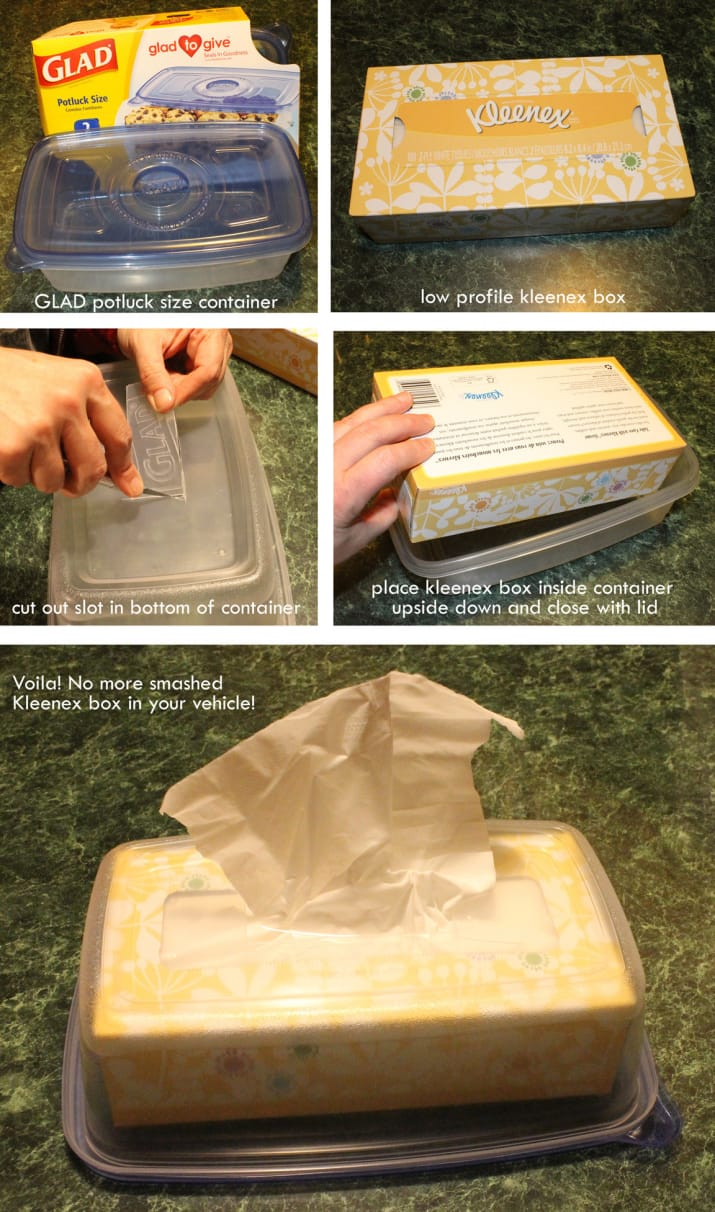 12. Cut a slot in the bottom of a Glad container to avoid a squashed Kleenex box.