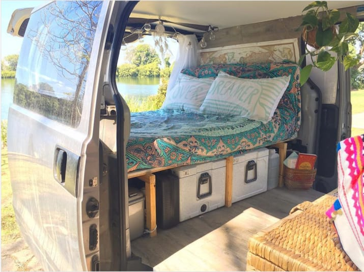 3. Build a simple platform for your air mattress to stash storage underneath if you car camp frequently.