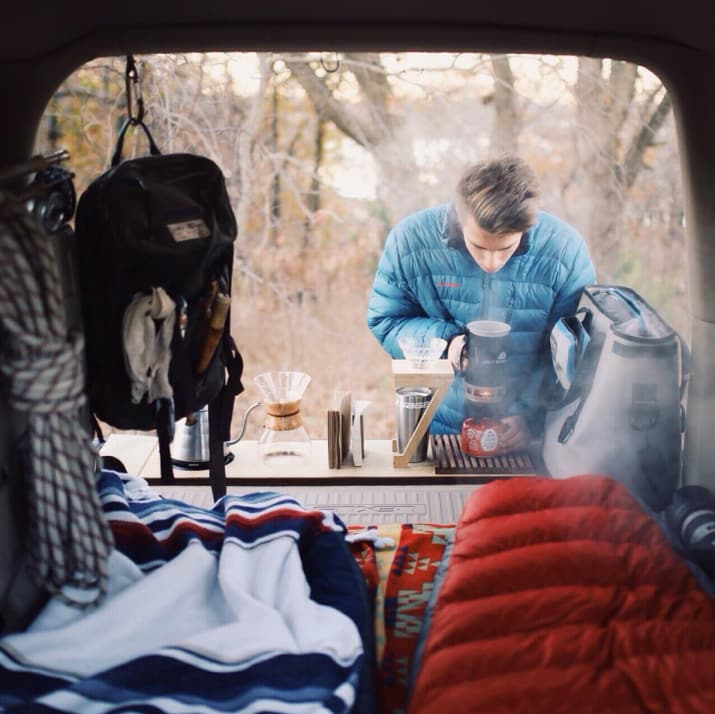 17. Get hipster with your coffee, and boil water for pour-over or Chemex on a small propane stove.
