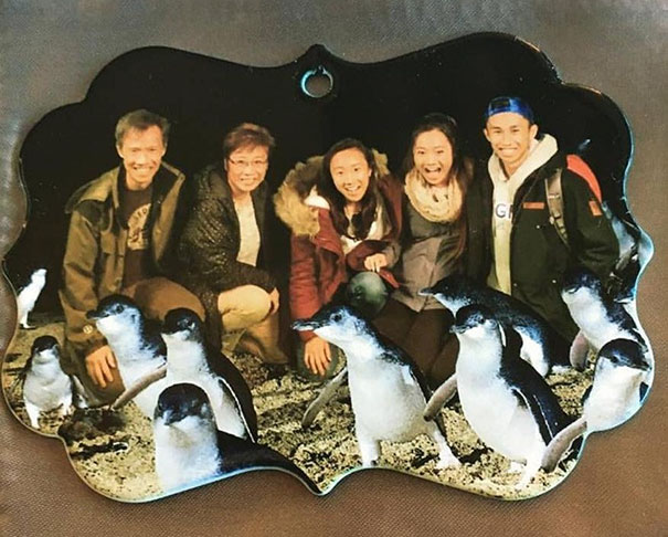 7.Ordered A Custom Family Photo Ornament. Received One With A Random Asian Family And Photoshopped Added Penguins. Not Even Mad Ordered A Custom Family Photo Ornament. Received One With A Random Asian Family And Photoshopped Added Penguins. Not Even Mad