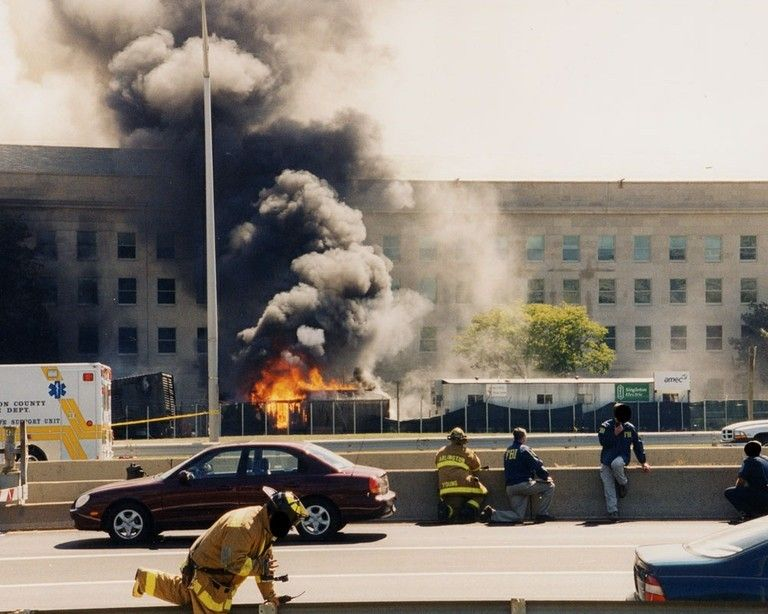 The FBI in action when the plane hit The Pentagon.