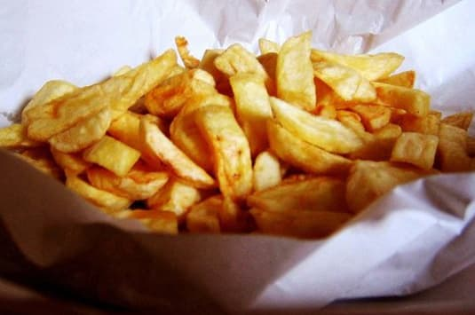 4. But also, chip shop chips served open and eaten on the walk home.
