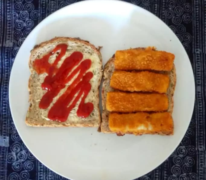 1. Fish finger sandwiches with ketchup.