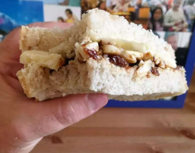12. Cheese and Branston pickle sandwiches.