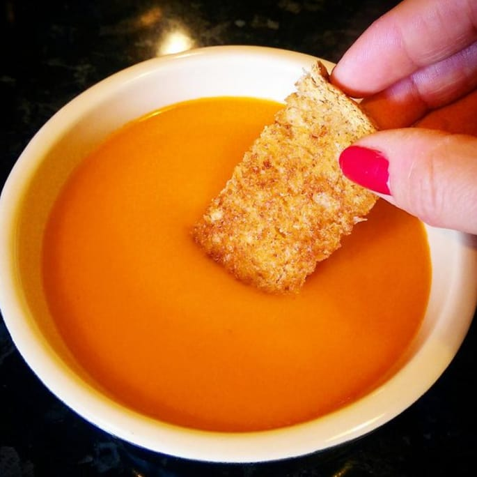 11. Heinz tomato soup with hot, buttered toast to dip in it.