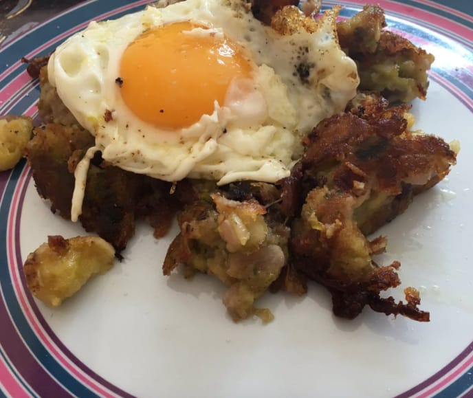 15. Bubble and squeak, preferably served with a fried egg on top.