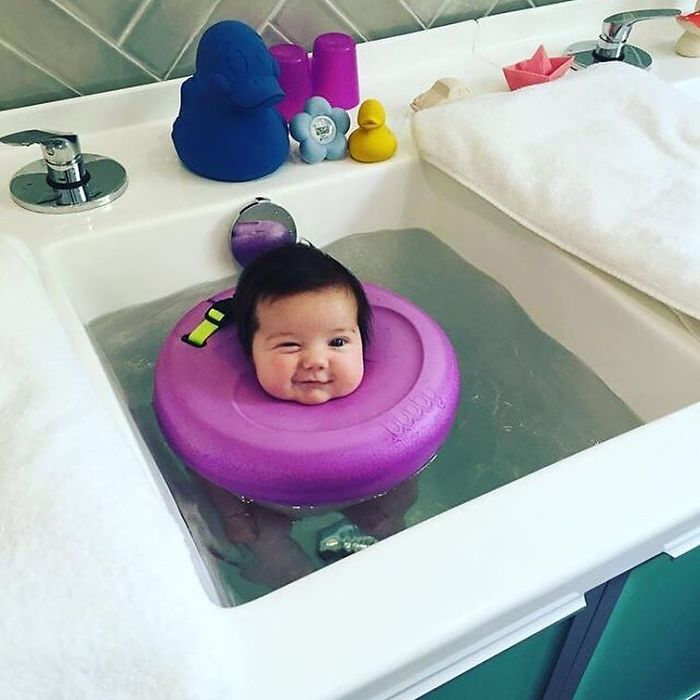 The spa even boasts its own patented flotation device, the Bubby, which keeps babies comfy and safe