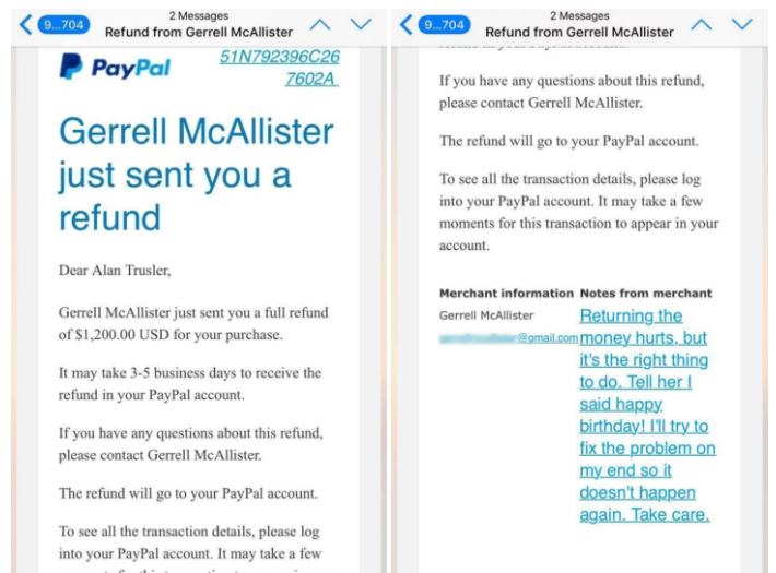 McAllister said he woke up to find an email from PayPal saying he'd received $1,200.
