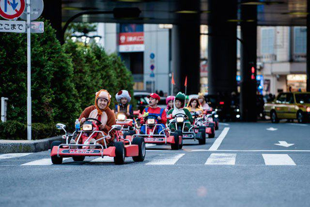 Not only did they come dressed in full Mario Kart character attire, but they had go-kart's to match, AND an abundance of stars and banana peels to chuck at bystanders.