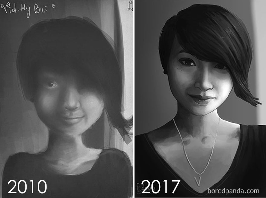 13. Redraw Of A Portrait After 7 Years By Frida Lundqvist