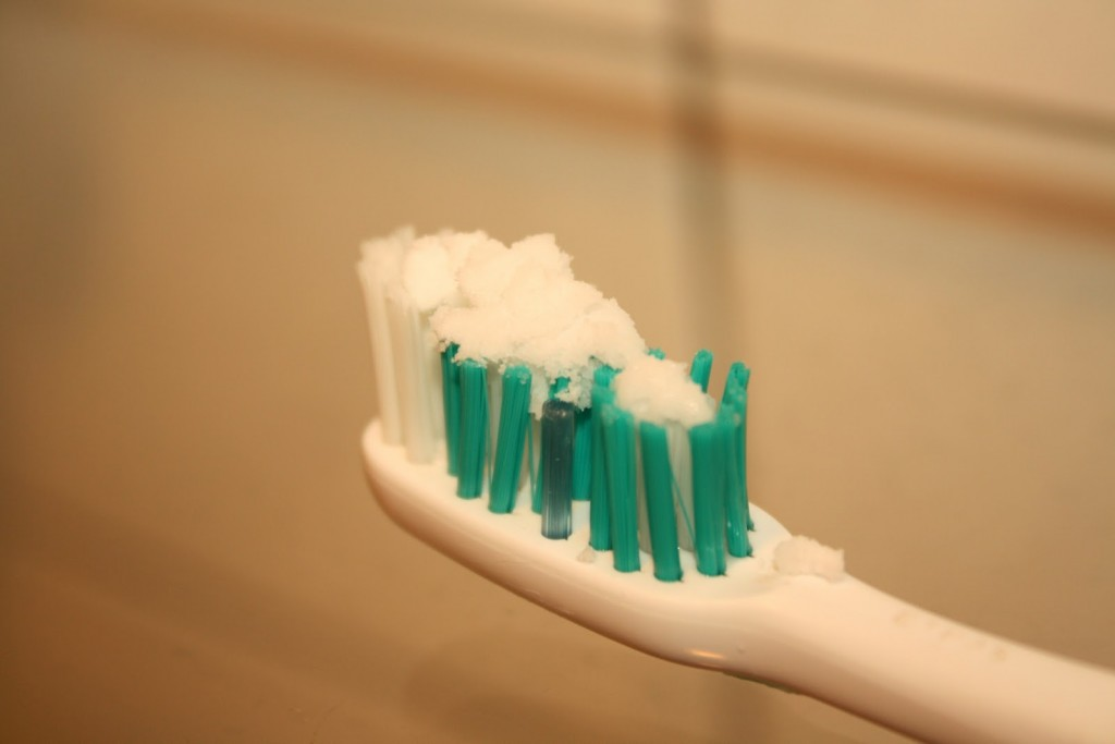 If you don't have toothpaste you can use baking soda instead.