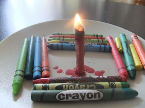 Crayons can also substitute for candles in a pinch.
