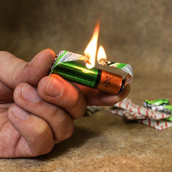 A foil wrapper and a battery will do when you need a flame.