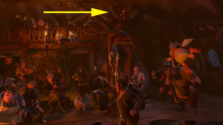 10. Pinocchio is hidden high up in the rafters above Flynn Rider during the