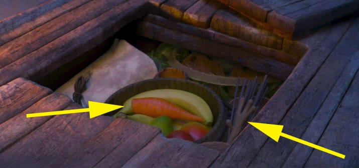 24. And finally, Olaf's nose and hand can be seen stored inside Moana's boat.