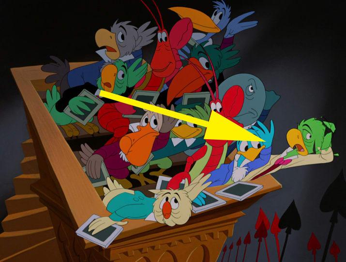 6. Saludos Amigos' José Carioca is one of the jurors during Alice's trial in Alice in Wonderland.