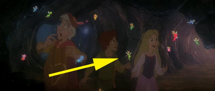 21. Tinkerbell appears among the fairies in the Fair Folk kingdom in The Black Cauldron.
