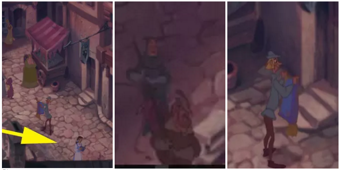 "2. During the ""Out There"" sequence in the The Hunchback of Notre Dame, Belle can be seen walking along and reading her book, Pumbaa is tied up and carried on a stick by two men (presumably to be eaten), and Aladdin's Carpet is being sold by a merchant."