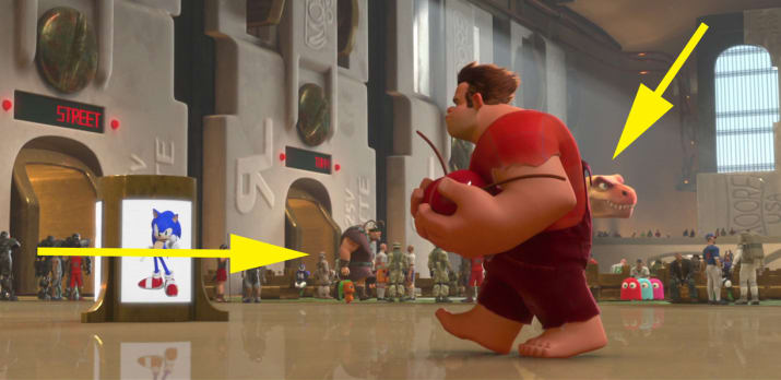 17. Tangled's Vladimir and Meet the Robinsons' Tiny the T-Rex can be seen in the background of Game Central Station in Wreck-It Ralph.