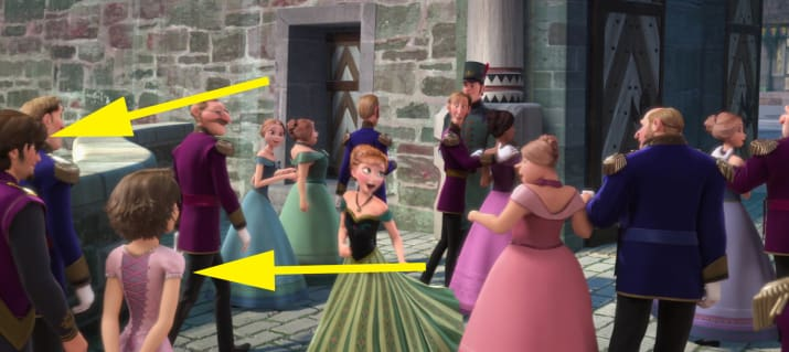 1. Rapunzel and Flynn are among the guests to Elsa's coronation in Frozen.
