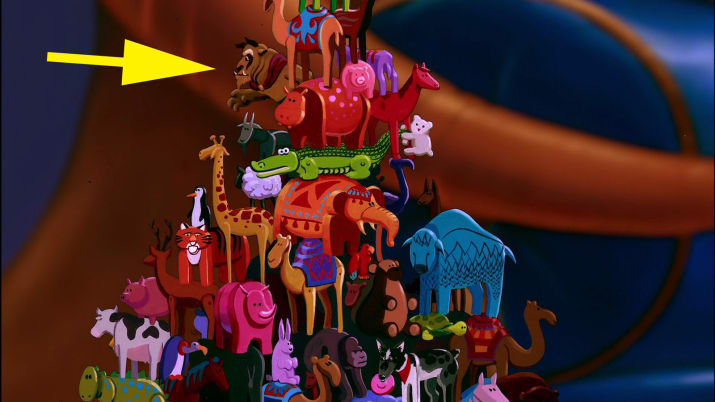 8. Beast is among one of the animal toys the Sultan is playing with in Aladdin.