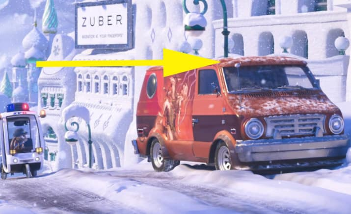 14. Big Hero 6's Baymax appears as an antenna topper on Finnick's van in Zootopia.