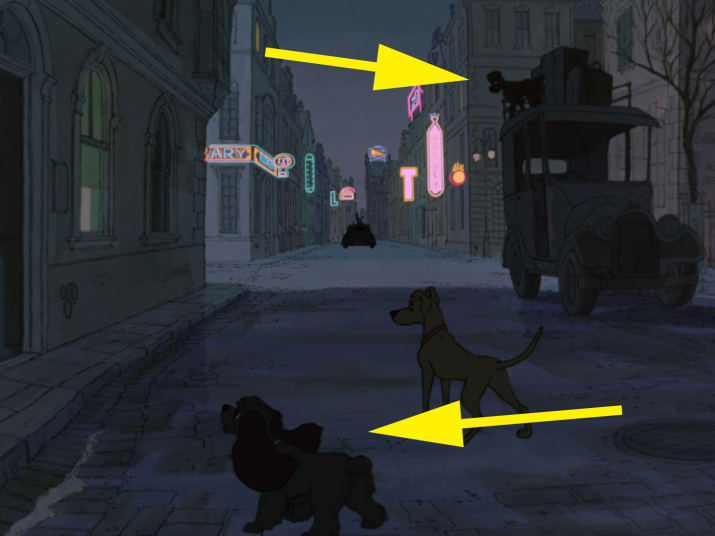 18. Lady and Tramp can be seen during the Twilight Bark sequence in 101 Dalmatians.