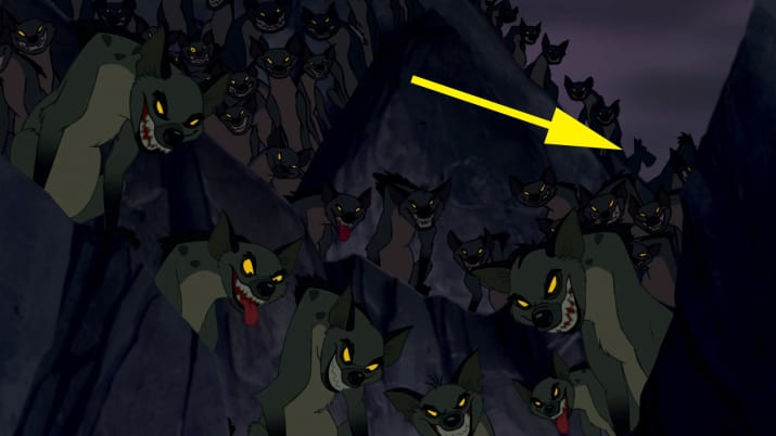 7. Jock (the Scottish terrier) from Lady and the Tramp can be seen in the background during the fight scene between Simba and Scar in The Lion King.