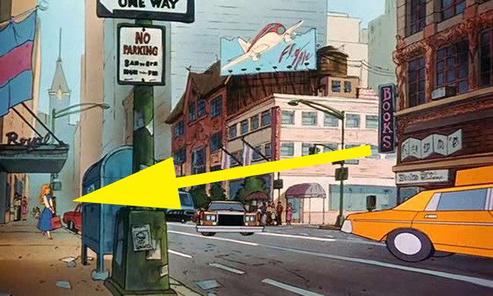16. In Oliver & Company, Princess Aurora appears as a background character shopping in New York City.