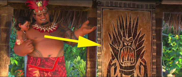 22. Marshmallow, the giant snow monster from Frozen, is shown on a tapa cloth during the beginning of Moana.
