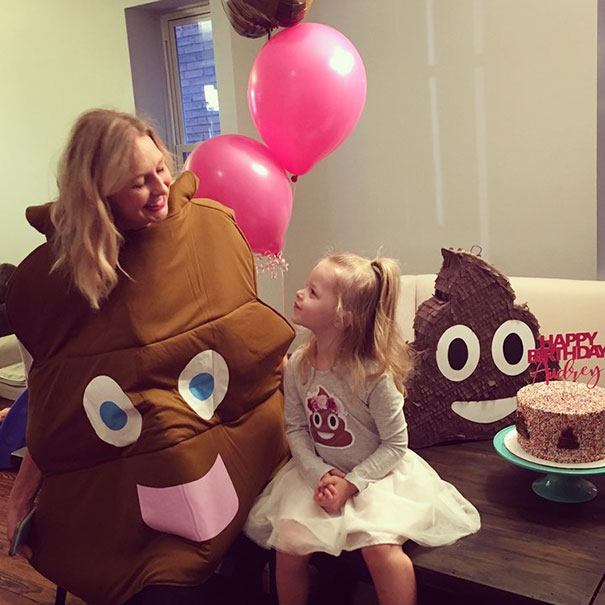If that wasn't enough, Rebecca even dressed in a poop costume.