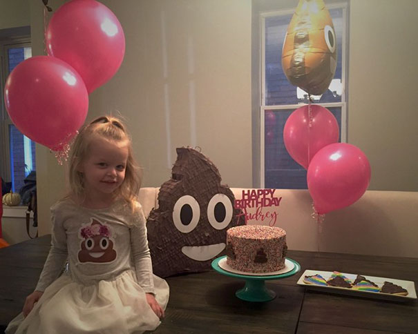 """For months, every time we mentioned her party, Audrey requested 'poop' balloons and a poop cake,'"" the girl's mom Rebecca told Huffington Post. ""I tried suggesting other themes, but she always insisted on poop."""
