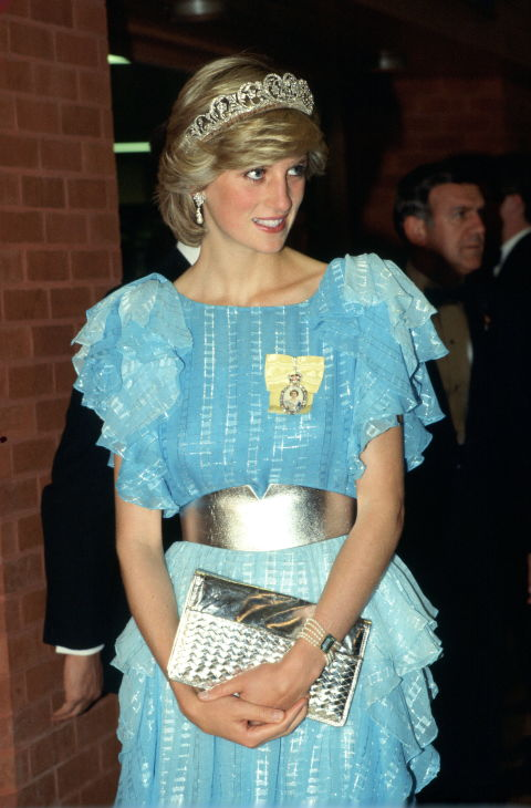 7. June 1983: Wearing an evening gown designed by Bruce Oldfield and The Diamond Spencer Tiara and visiting a dinner party hosted by The Province of New Brunswick.