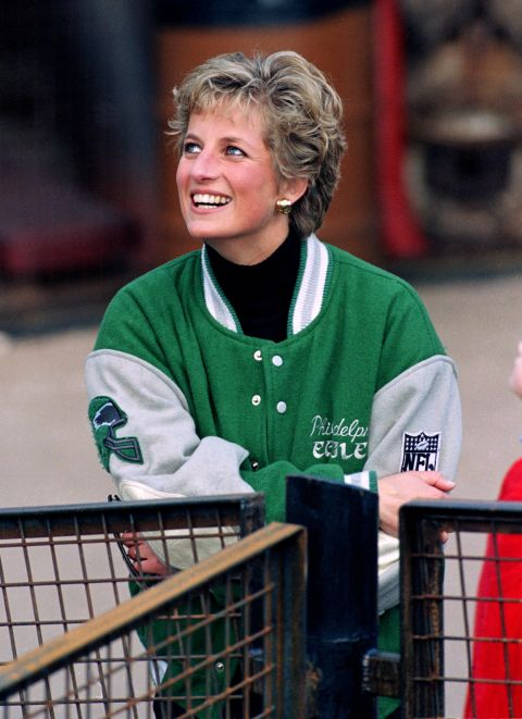 13. April 1994: Wearing a beautiful Philadelphia Eagles letterman jacket at Alton Towers Theme Park.