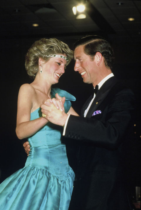 10. 1985: Dancing with Prince Charles in a magnificent blue dress designed by David Emanuel.