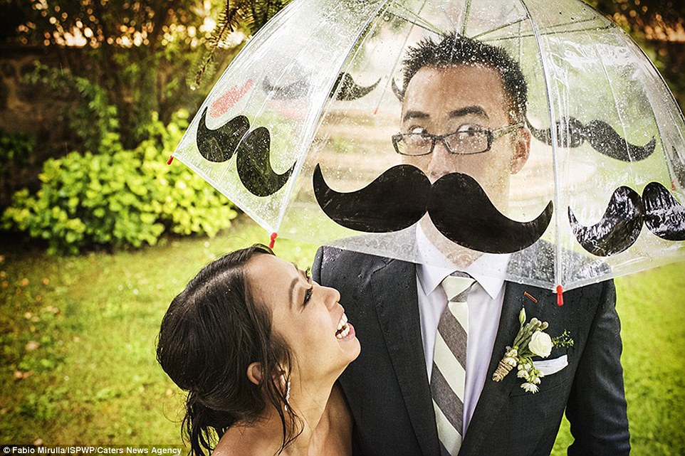 9. A perfectly impressive mustache on a wedding day.