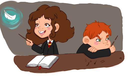 In the Harry Potter books, her big bushy hair is described as one of her characteristic traits.