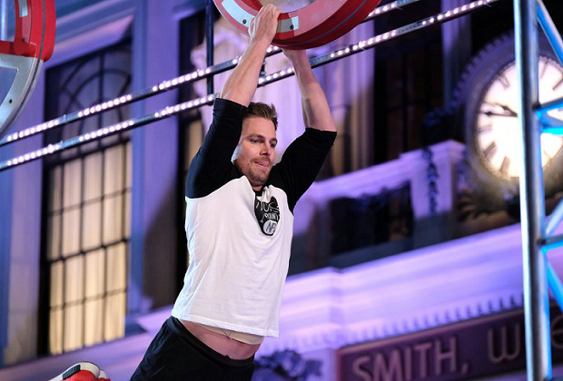 Amell does a lot his own stunts for Arrow - coincidentally including the 'salmon ladder' - a part of the latest Ninja Warrior course which also happens to be part of Green Arrow/Oliver Queen's fitness routine.