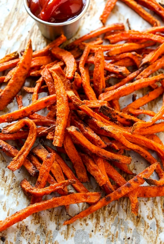 Add cornstarch to your sweet potato fries to make them more crispy.