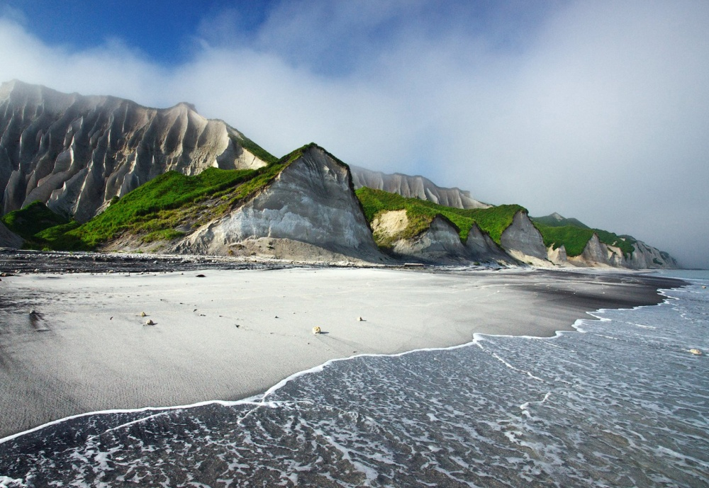 The white cliffs of Iturup island, Russia
