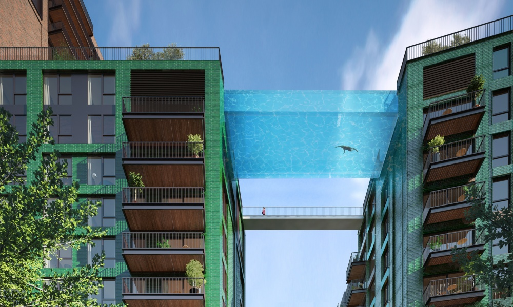 A design for a glass swimming pool suspended between two buildings in London