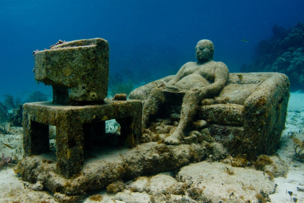 A sculpture 'Inertia' in an underwater museum MUSA