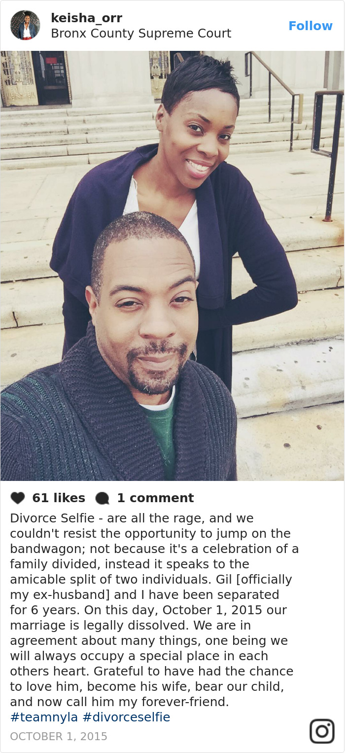 Though some people aren't really sure how to feel about it, others are lauding the divorce selfie as a positive and mature take on an otherwise difficult and sombre event.