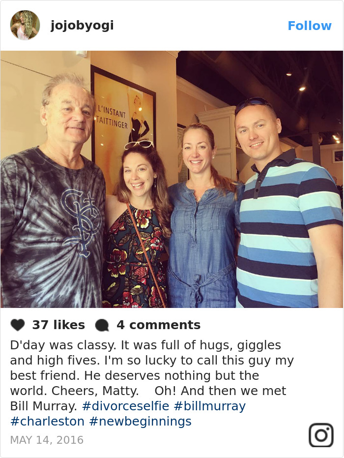 Legally finalizing a divorce is not exactly something people often care to photograph, but these former flames are all smiles in their 'D-Day' selfies, with some even including heartfelt messages commemorating the time spent with their spouses.