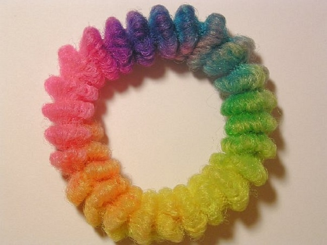 A rainbow scrunchie